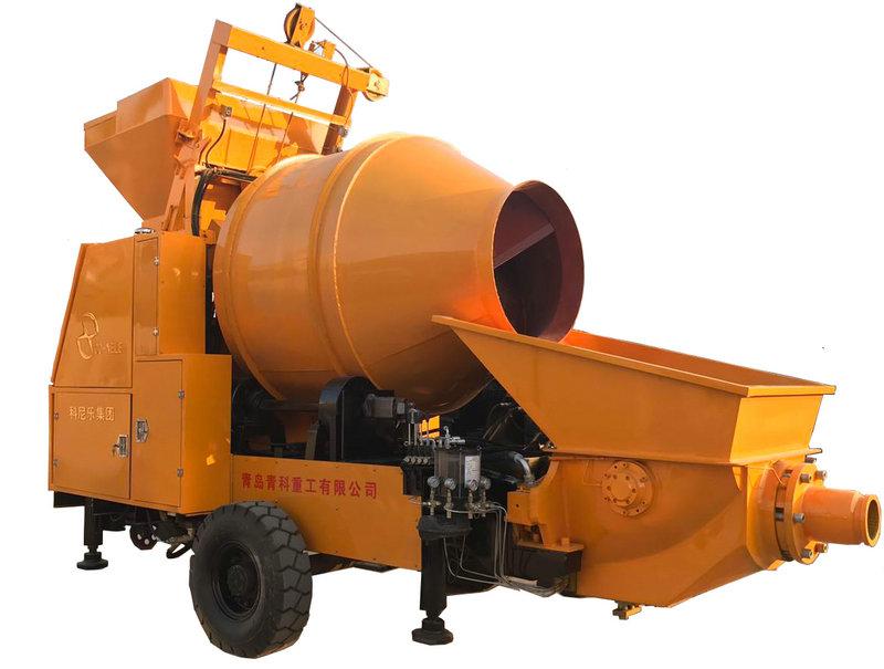 搅拌拖泵03青科重工 混凝土搅拌拖泵价格 搅拌泵现场施工视频